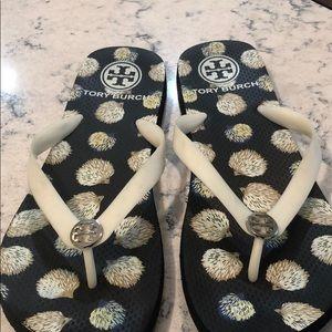Tory Burch Blue Bleach/Hedgehog Flip Flop Sandals